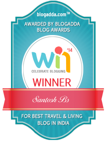 The Best Travel and Living Blog in India awarded by BlogAdda