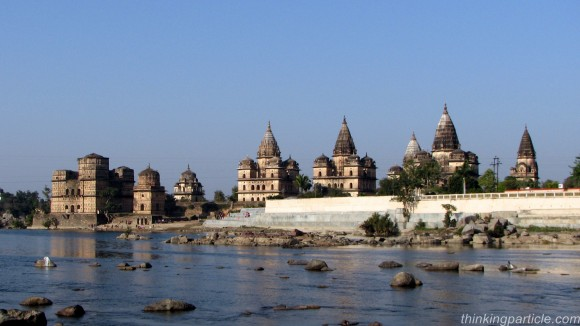 Group of Cenatophs on the bank of river Betwa Orchha