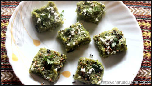 """""""Spinach (palak) dhokla recipe by Charulata"""""""