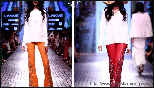 Embellished leather pants by Neeti Gadodia