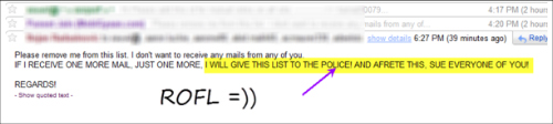 can't stop ROFL after seeing this reply in one of the chain emails which I received today