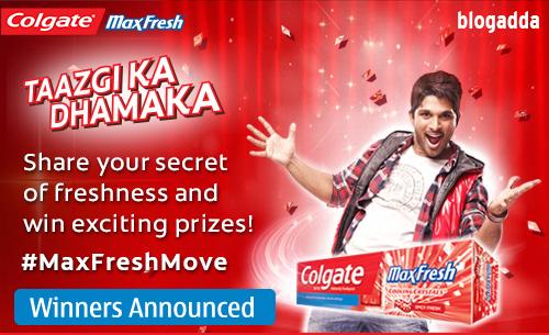 Colgate MaxFreshMove contest winner announcement